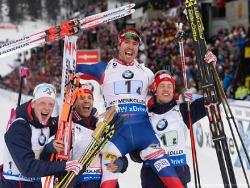 Биатлон. ЧМ-2016. Сборная Норвегии выиграла и мужскую эстафету, россияне - шестые