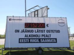 Cчётчик недополученного Эстонией алкогольного акциза появился у границы с Латвией