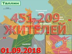 Число жителей Таллина по состоянию на 1 сентября 2018 года составляет 451 209 человек