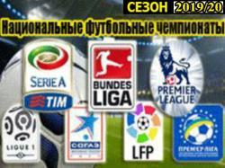 Футбол. Национальные чемпионаты. Сезон 2019/2020 годов.