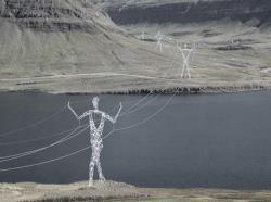 Пейзажи Исландии дополнят выполненные в виде человеческих фигур опоры линий электропередач