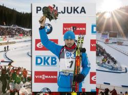 Биатлон. Антон Шипулин, выиграв масс-старт в Поклюке, вышел на второе место в общем зачёте