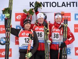 Биатлон. ЧМ-2015. На пьедестале спринтерской гонки два норвежца Бё и канадец Смит